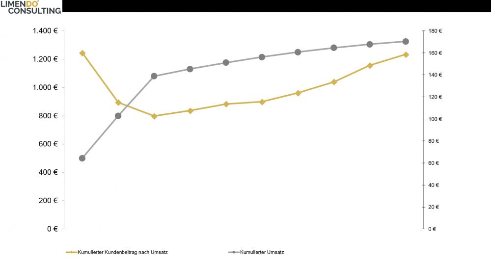 Kumulierter Umsatzverlauf und kumulierter Kundenbeitrag (geordnet nach Umsatzhöhe)