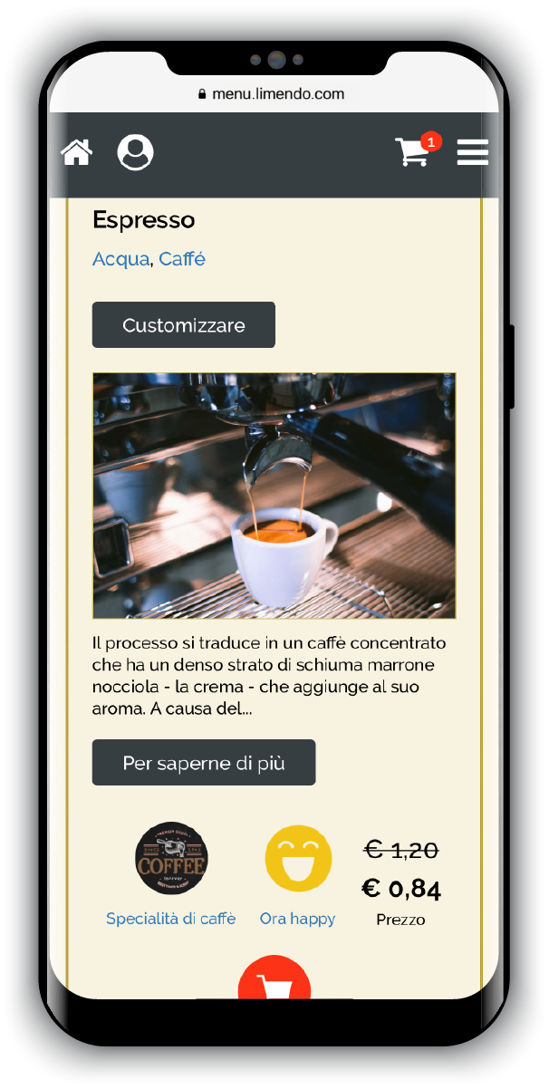 Menu digitale Limendo Menu su iPhone - Selezione Articolo_500