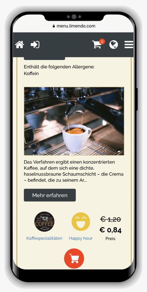 Limendo Menu auf iPhone - Auswahl Artikel_500