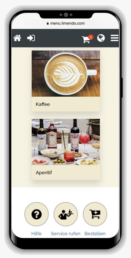 Limendo Menu auf iPhone - Auswahl Kategorie_500_800