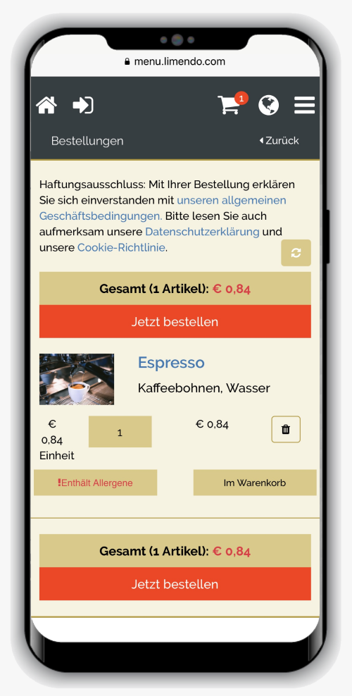 Digitale Speisekarte Limendo Menu auf iPhone - Warenkorb_500